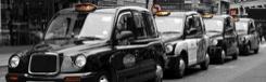 Met de taxi van het vliegveld naar Londen